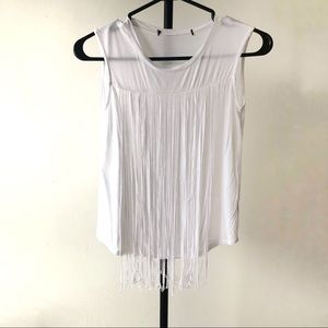 Tops - White sleeveless Top W dangling Fringes design|XS